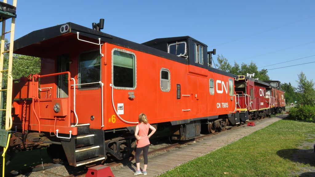 An orange train car