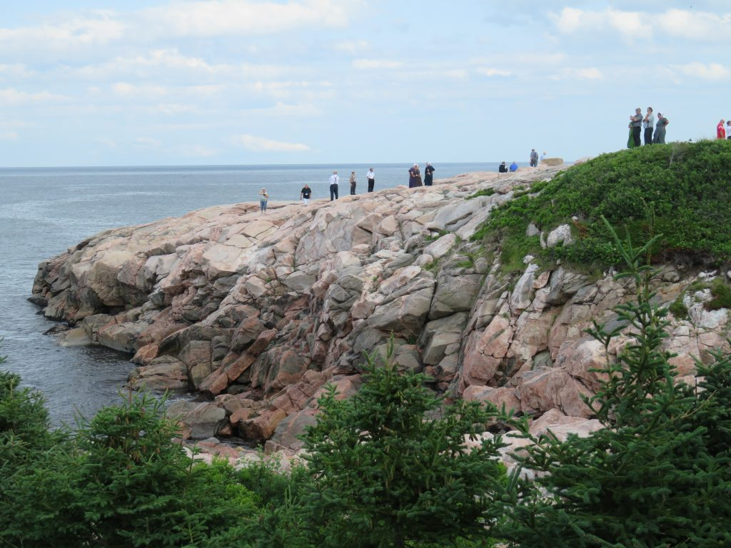 Pinkish rocks with green trees by the ocean.