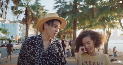 Phum Viphurit and the girl he loves strolling in Pattaya